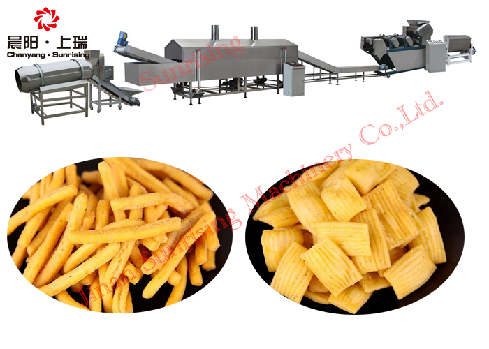 Fried Wheat Flour Puff Snack Process Line