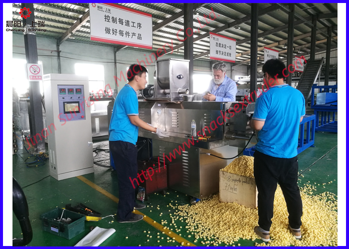 Breakfast cereal choco puff ring snack food extrusion machinery production line